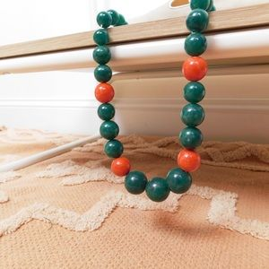 Vintage Green & Red Round Bead Necklace
